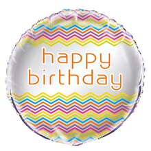 Foil Rainbow Chevron Birthday Balloon, 18""