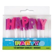 Purple and Pink Letter Birthday Candles, 13pc
