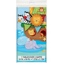 "Plastic Noah's Ark Baby Shower Tablecloth, 84"" x 54"""