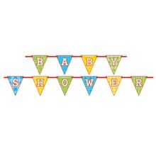 Paper Baby Shower Pennant Banner, 9 Ft., Stacked