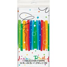 "Plastic Rainbow Birthday Party Tablecloth, 84"" x 54"""