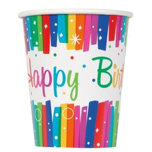 9oz Rainbow Birthday Party Paper Cups, 8ct