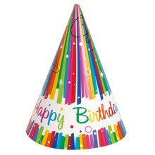 Rainbow Birthday Party Hats, 8ct