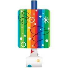 Rainbow Birthday Party Blowers, 8ct