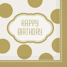 Golden Birthday Luncheon Napkins, 16ct