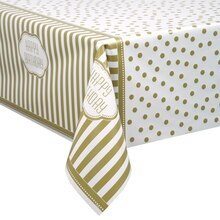"Plastic Golden Birthday Tablecloth, 84"" x 54"""