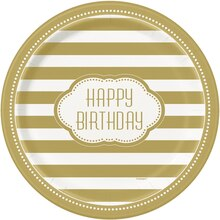 "9"" Golden Birthday Party Plates, 8ct"