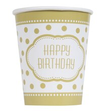 9oz Golden Birthday Paper Cups, 8ct