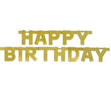 Golden Happy Birthday Banner, 4 Ft., Stacked