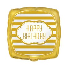 Foil Square Golden Birthday Balloon, 18""