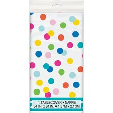 "Plastic Confetti Cake Birthday Tablecloth, 84"" x 54"""
