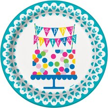 "9"" Confetti Cake Birthday Party Plates, 8ct"