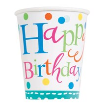 9oz Confetti Cake Birthday Paper Cups, 8ct