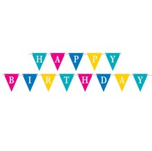 Paper Bright Happy Birthday Pennant Banner, 9 Ft., Stacked