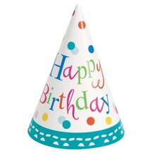 Confetti Cake Birthday Party Hats, 8ct