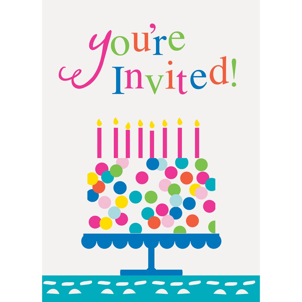 Confetti Cake Birthday Party Invitations | Birthday Party Supplies
