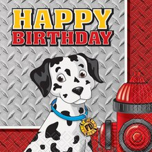 Fire Truck Birthday Beverage Napkins, 16ct