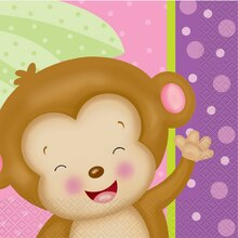 Girl Monkey Baby Shower Luncheon Napkins, 16ct