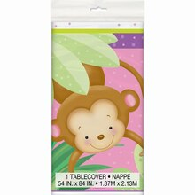"Plastic Girl Monkey Baby Shower Tablecloth, 84"" x 54"""