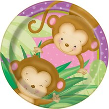 "7"" Girl Monkey Baby Shower Plates, 8ct"