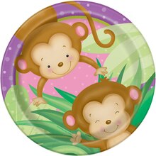 "9"" Girl Monkey Baby Shower Plates, 8ct"