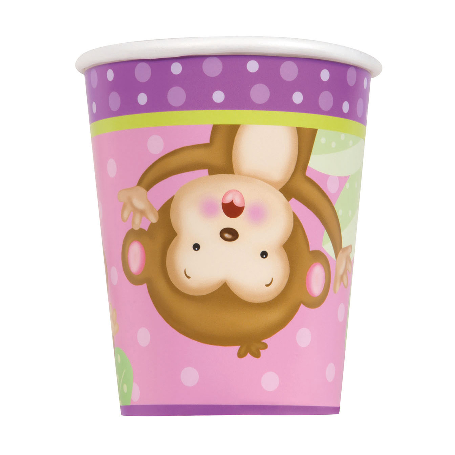 9oz Girl Monkey Baby Shower Paper Cups, 8ct