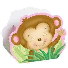 Girl Monkey Baby Shower Favor Boxes, 8ct