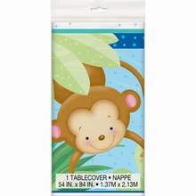 "Plastic Boy Monkey Baby Shower Tablecloth, 84"" x 54"""