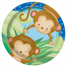 "7"" Boy Monkey Baby Shower Plates, 8ct"