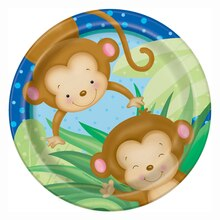 "9"" Boy Monkey Baby Shower Plates, 8ct"