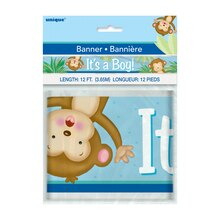 Foil Boy Monkey Baby Shower Banner, 12 Ft., Packaging