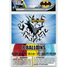 "12"" Latex Batman Balloons, 8ct, Packaging"