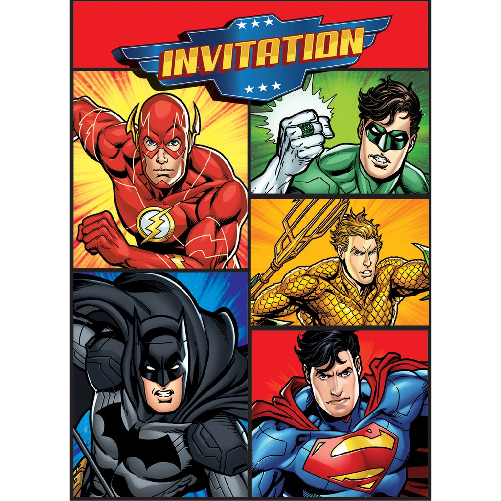 Justice league party invitations justice league party supplies justice league invitations 8ct stopboris Choice Image