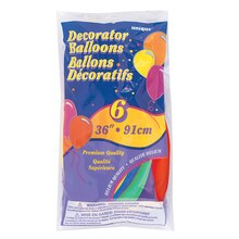 "36"" Giant Latex Assorted Colored Balloons, 6ct"