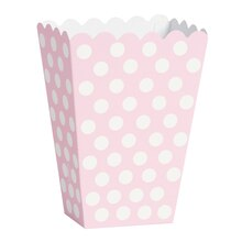Light Pink Polka Dot Popcorn Treat Boxes, 8ct