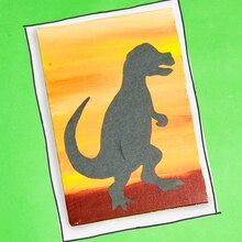 Land of Dinosaurs: Dinosaur Silhouette Painting, medium