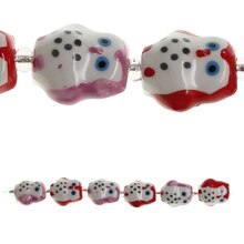 Bead Gallery Owl Ceramic Beads, Red & Pink