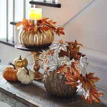Gold Craft Pumpkin Candle Holder, medium
