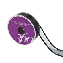 """Black Sheer Stitched Ribbon by Celebrate It 360°, 7/8"""" x 5yd."""