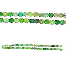Bead Gallery Czech Glass Mixed Faceted Beads, Green Close Up