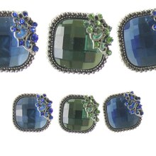 Bead Gallery Square Metal Slider Beads, Blue Mix