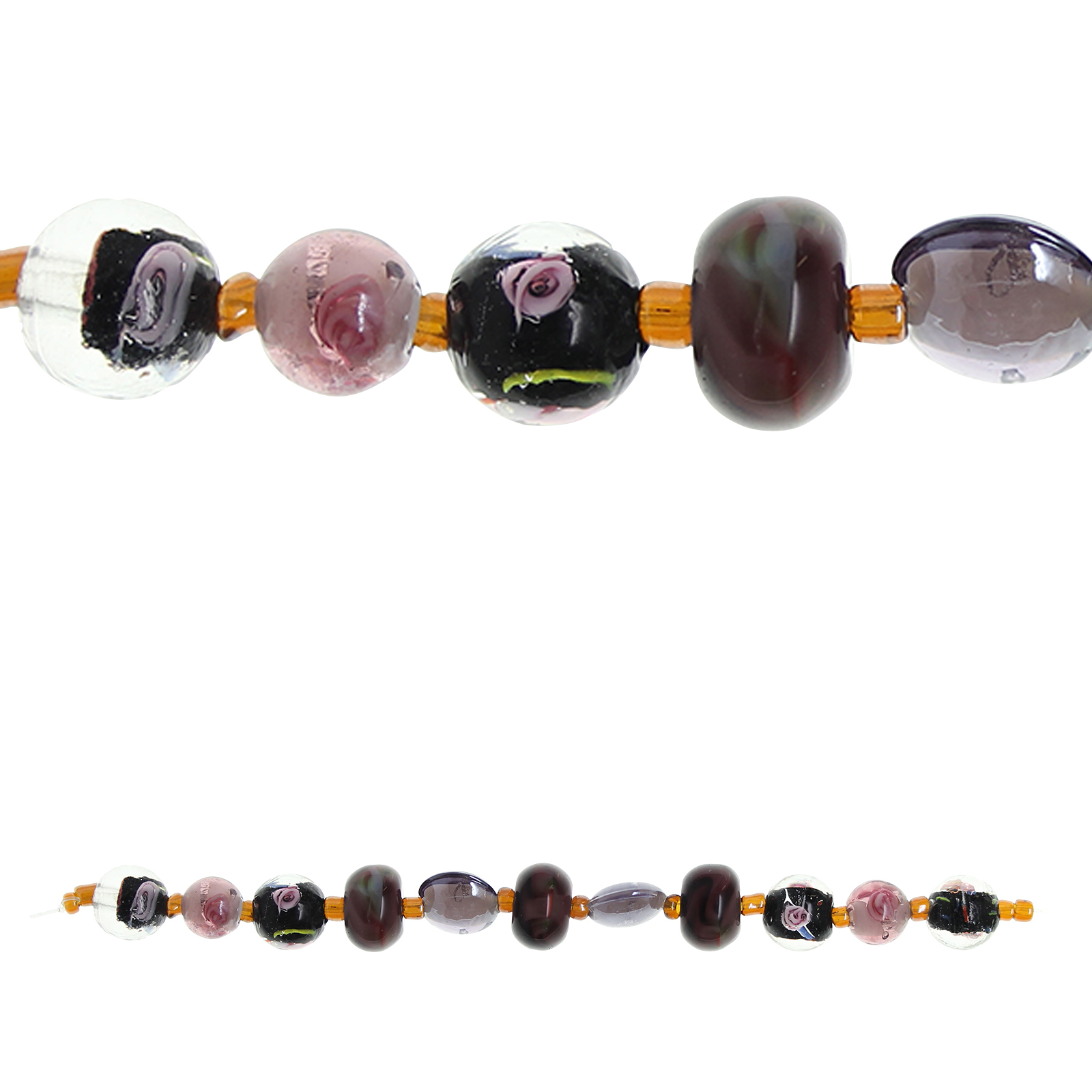 bead gallery small rondelle lampwork glass beads amethyst