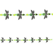 Bead Gallery Dragonfly Mix Glass Beads, Silver & Green