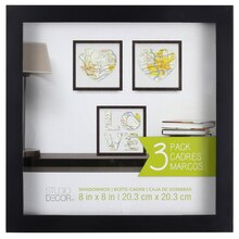 "Black Shadowbox 3 Pack by Studio Décor, 8"" x 8"""
