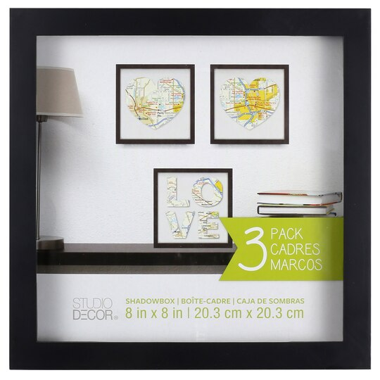 3 pack black shadow box 8 x 8 by studio d cor for Cadres photo box ikea