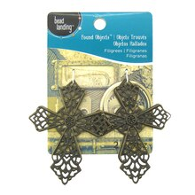 Found Objects Filigree Cross Charms by Bead Landing