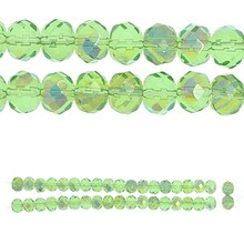 Bead Gallery Faceted Glass Beads, Peridot AB