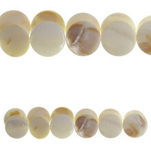 Bead Gallery Round Lentil Natural Shell Beads, White