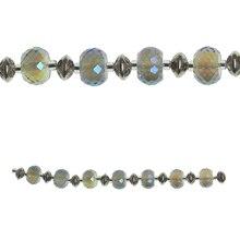 Bead Gallery Metal & Glass Rondelle Beads, Aqua