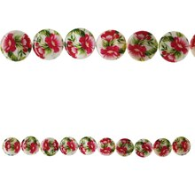 Bead Gallery Flower Print Lentil Shell Beads, Pink